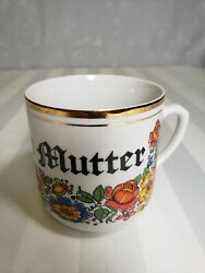 Vintage German Mother Coffee Mug Tea Cup Mothers Day Gift Gold Metallic Mutter
