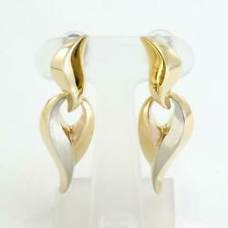 Jewelry 18k Yellow Gold White Pink Earring About16.5g Free Shipping Used