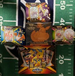 💥shining Fates Etb, Pikachu V Collection And All 3 Shining Fates Tins Lot Of 5