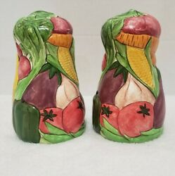 Apple Farm Large Hand Painted Vegetable Salt And Pepper Shakers