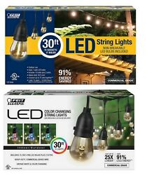 30' Outdoor String Lights Remote Control 15 Led Bulbs White Or Multi-color Feit