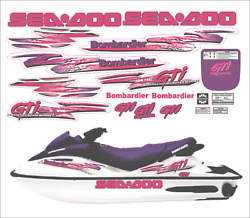 Seadoo Gti 1997 Graphics / Decal Replacement Kit Same As Oem Pink And Purple