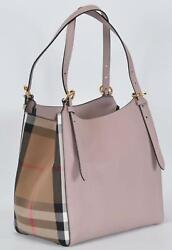 New Burberry Pink CANTERBURY Derby Leather House Check Small Satchel Purse $832.50