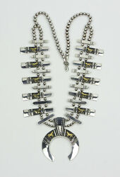 Thomas Singer Navajo Sterling Silver With Gold Horses Squash Blossom Necklace