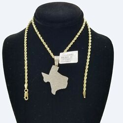 10k Gold Texas Map Diamond Pendant/charm 2.5mm Rope Chain In 16 18 20 22 24 Inch