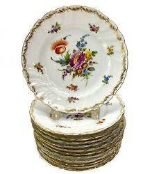 12 Klemm Dresden Dessert Hand Painted Plates With Florals And Gilt C1930