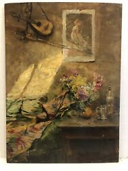 Aime Ponson 1850-1924french 1910 Impressionist Interior Scene With Flowers