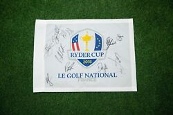 Ryder Cup 2018 Signed By 11 Usa Pin Flag Aftal Coa Genuine Signatures A