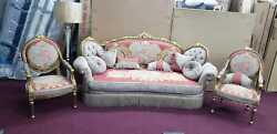 French Louis Xvi Hand Carved Solid Wooden Living Room Set - 3 Pieces.