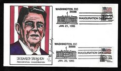 1894 20c Stamps 1985 Ronald Reagan Inauguration Hand Painted Cover By Paslay