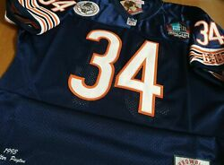 Blue Chicago Bears Throwback 34 Walter Payton W/hof Patch Stitched Jersey 3xl