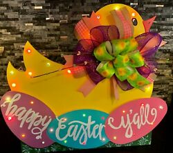 Easter Chick Wood Porch Sign With Kickstand/35 Lights/bow Happy Easter Yand039all