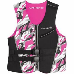Airhead Camo Cool Neolite Kwik-dry Womenand039s Pink Life Vest Large 15003-10-b-pi