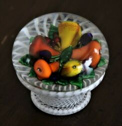St. Louis Fruit Piedouche Paperweight Signed And Dated 1985 Saint Louis