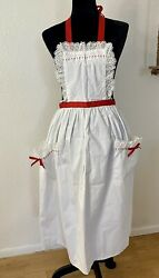 Vintage Full Apron Ruffles Pockets New With Tag