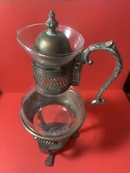 Vintage Glass And Metal Coffee Pot Warmer On Silver Plate Base 15andrdquo High 7andrdquo Wide