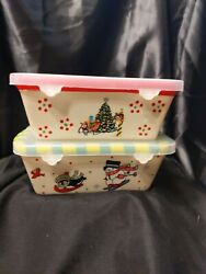 Temp-tations Holiday 12 Oz Set Of 2 Loaf Pans And Lidsandnbsp Handpainted Free Shipping