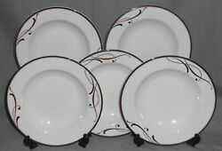 Set 5 Mikasa Cocoa Blossom Pattern Rimmed Soup Bowls Made In Portugal