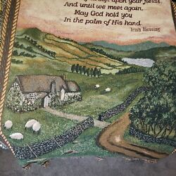 Irish Blessing Woven Tapestry Blanket Throw Ireland 70 X 50 Cottage Home