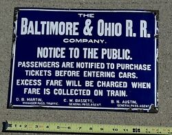 Baltimore And Ohio B O Railroad Antique Beveled Porcelain Metal Sign 14x10 Old