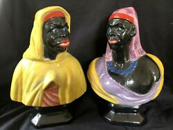 Antique German Porcelain Pair Of Blackamoore Buste. Marked Bottom With Blue Mark