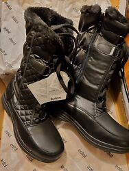 Sz 10M quot;Donnaquot; TOTES Winter Snow Boots Inside Zip Waterproof Thermo Lite Black $42.00