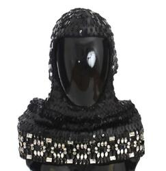Dolce And Gabbana Black Knitted Wool Crystal Beaded Hood Scarf Hat
