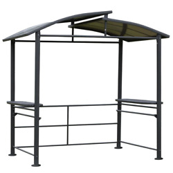 7.8 Ft. X 4.9 Ft. Tawny Polycarbonate Steel Bbq Patio Canopy Pergola With 2 Side