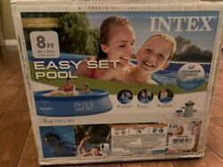 Intex 8and039x24 Easy Set Round Inflatable Above Ground Pool With Pump And Filter