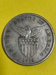 Us Philippines One Peso 1910-s Scarce Date 246