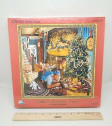 Father's Christmas Train By Susan Brabeau 500 Pc Puzzle Sunsout 19 X 19, New