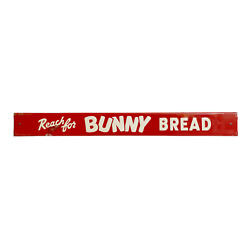 Original 1940and039s - 50and039s Bunny Bread Door Push Sign Embossed Red White Vintage