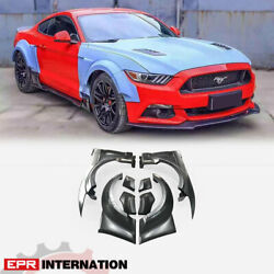 Fit For 2015 Mustang Front And Rear Kt Style Frp Unpainted Fender Mudguards Set