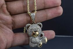 10k Solid Yellow Gold And Diamond 3.625 Ct Teddy Charm Pendant With Chain