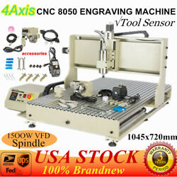 Usb 4 Axis 8050 Cnc Router Engraver Vfd Wood Milling Cutting Machine 1.5kw