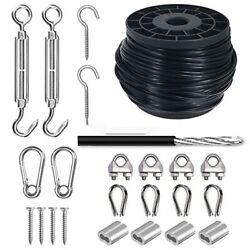 Outdoor Light Suspension Kit Black Vinyl-coated 304 Stainless Steel Cable Guide