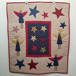 Rustic Primitive Quilted Wall Hanging Country Americana July 4th Home Decor