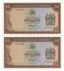 Rhodesia 2 X 5 Dollars March 1976 Consecutive Numbers Pick 36 A Unc+-