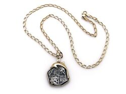14k Yellow Gold Atocha Shipwreck Coin Link Chain Necklace 20 Inch Dolphin Frame