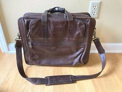 Vintage Tumi Brown Leather Laptop Briefcase Business Case - Nice