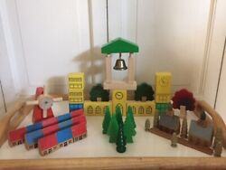 Vintage Wooden Village Scene Retro Old Time Kids Toy Collectible Very Old