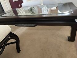 Vintage Coffee Table Wooden Base Glass Top Ming Dynasty