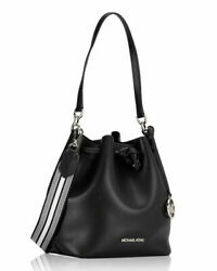 Michael Kors Eden Medium Black Silver Leather Bucket Crossbody Shoulder Bag $103.98