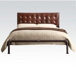 Luxury Queen Size Tufted Bedroom Bed Brown Finish Top Grain Leather Furniture