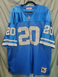 Detroit Lions Barry Sanders Mitchell And Ness Blue Throwback Jersey Size 56 Home