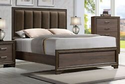 Low Profile Footboard Fabric Padded Headboard 4p Queen Size Solid Wood Furniture