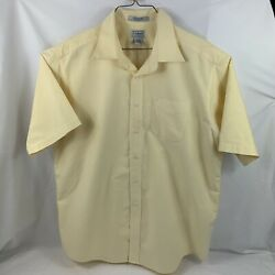 Ll Bean Mens Yellow Short Sleeve Button Down Wrinkle Free Oxford Shirt Size 17.5