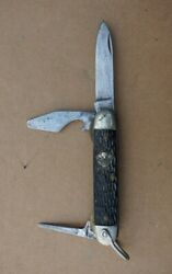 Vintage Official Cub Boy Scout Knife Imperial New York Black Handle Bsa 3 Blade