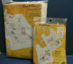 New Paragon Disney Nursery Rhymes Quilted Crib Quilt And Pair Of Bibs Kits Set