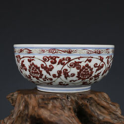 8.8 Antique Chinese Porcelain Ming Dynasty Xuande Blue White Red Lotus Bowl